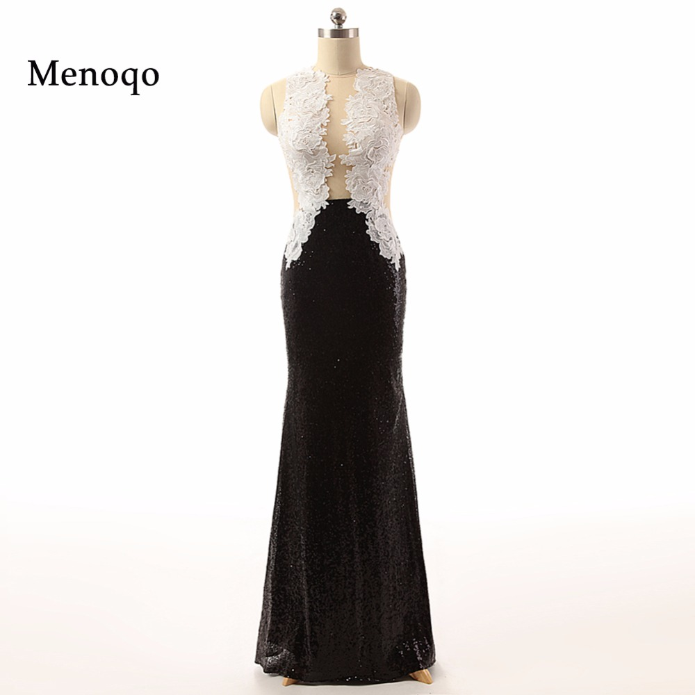 62733 Вт элегантный Для женщин Черный и белый Аппликация Длина пола Длинные  2018 вечернее платье настоящая фотография 37c5a28de9d