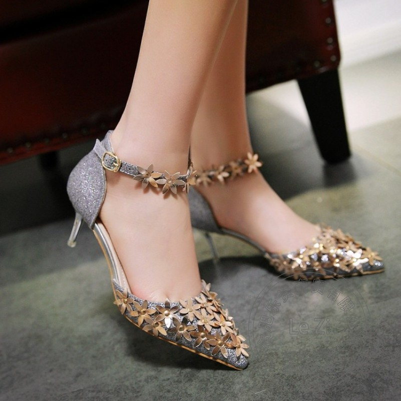 ФОТО Party Fashion Shoes Woman Women Sexy Shoes Pu Pu Studded Concise Closed Toe Stiletto Heels Arrival Ankle Wrap Clasp Cusp