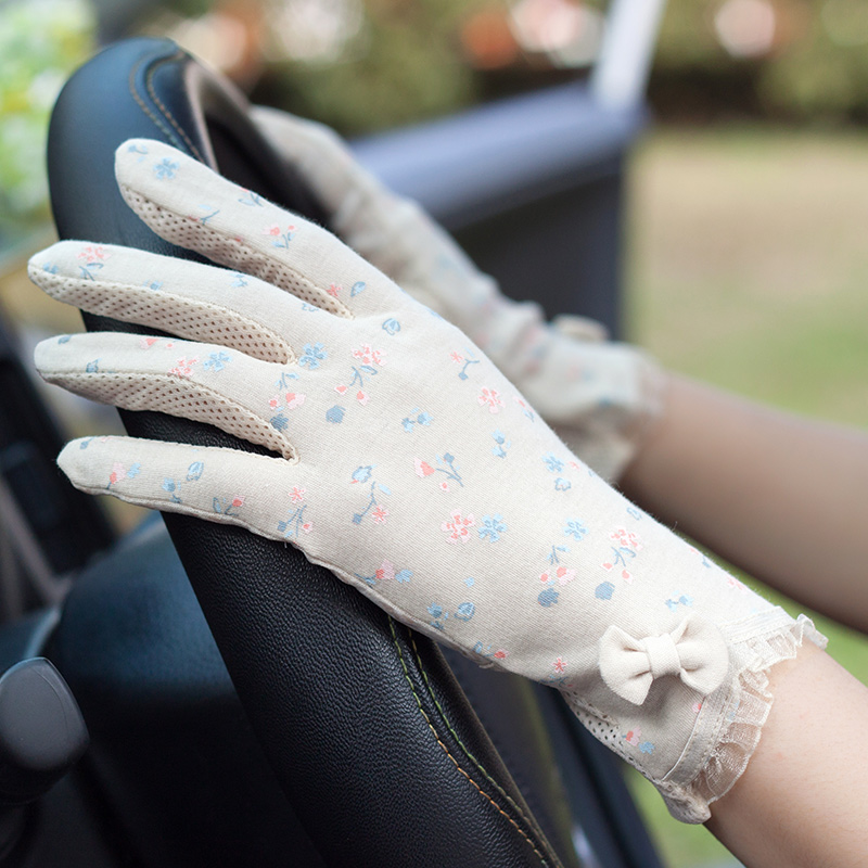 Woman Gloves Summer Sunscreen Driving Gloves Female Thin Pure Cotton Cute Sweet Floral Non-Slip Touchscreen Breathable FS22-2