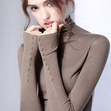 womens top Gauze long sleeve Turtleneck t shirt all match tee black white green brown t shirt women bts-1