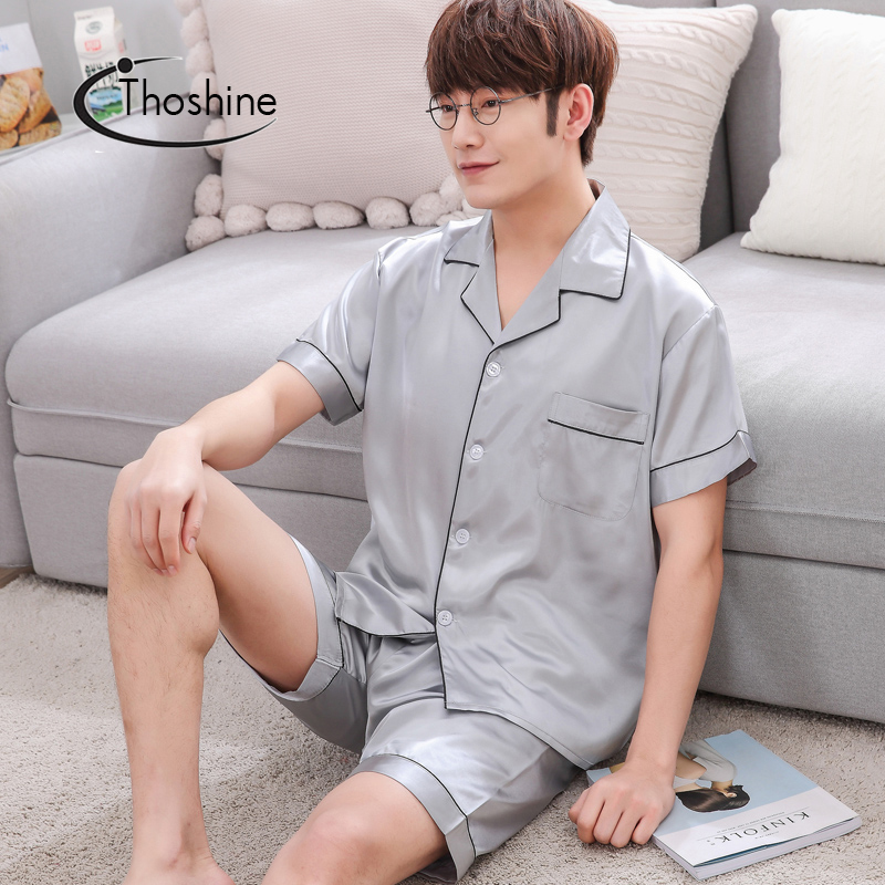 Thoshine Brand Summer Style Men China Satin Pajamas sets Patchwork Turn-down Collar Button Sleepwear Male Elastic Waist Pijama