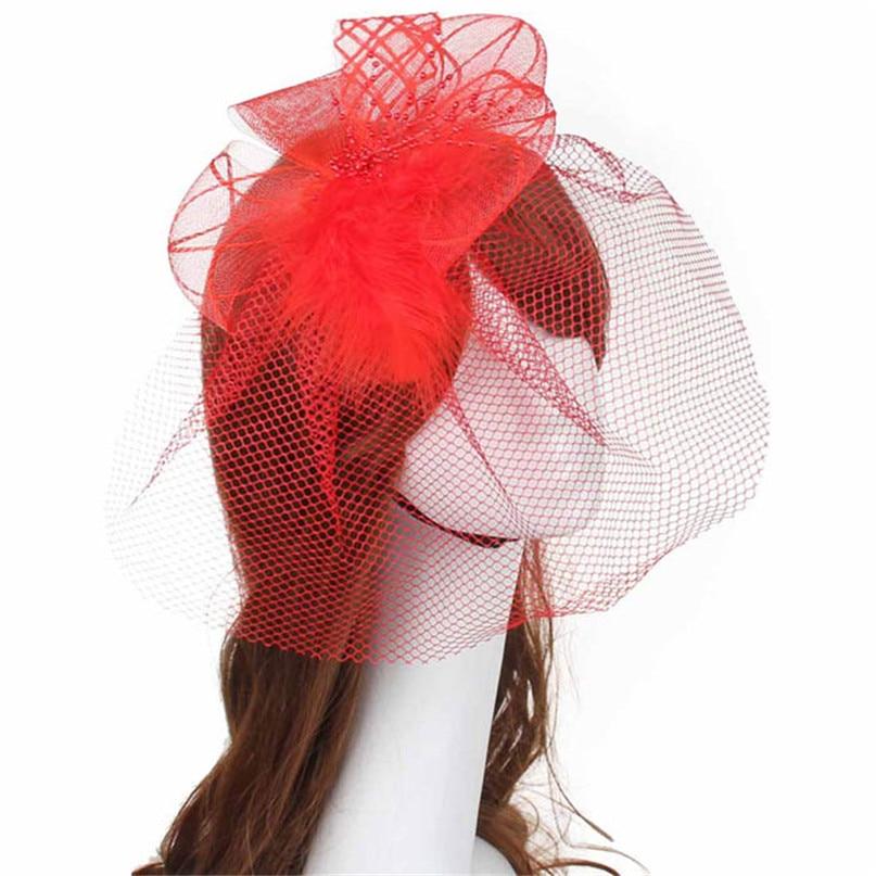 Modern 6 color Women Brides Wedding Fascinator Veil Feather Hard Yarn Headband Hats Hair Accessories clothes jun30 - Electrical Sparkle store