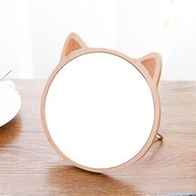 Round Wooden Table Mirror Desktop Makeup Female Dormitory Beauty Gift Vanity