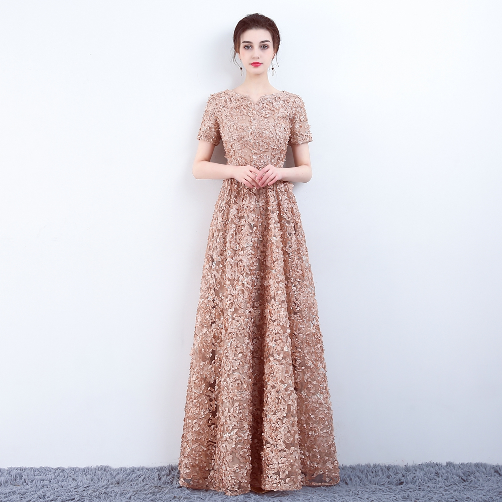 YIDINGZS Elegant Khaki Lace Evening Dress Simple Floor length Prom ...