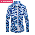 Dropshipping Синий Камуфляж Рубашка Мужчин 2016 Армия Стиль С Длинным Рукавом Блузки Homme Мужчины Рубашка Camisa Masculina 5xl Cd0953