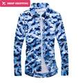 Dropshipping Azul Camuflaje Camisa de Los Hombres 2016 Estilo Militar Homme Blusas de Manga Larga de Los Hombres Camisa de Vestir Camisa Masculina 5xl Cd0953