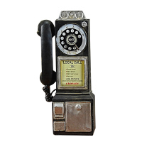 Home Decor Vintage Telephone Model Wall Hanging Crafts Ornaments Retro Home Furniture Figurines Phone Miniature Decoration Gift