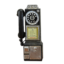 Ev dekor Vintage telefon modeli duvar asılı el sanatları süsler Retro ev mobilya figürler telefon minyatür dekorasyon hediye