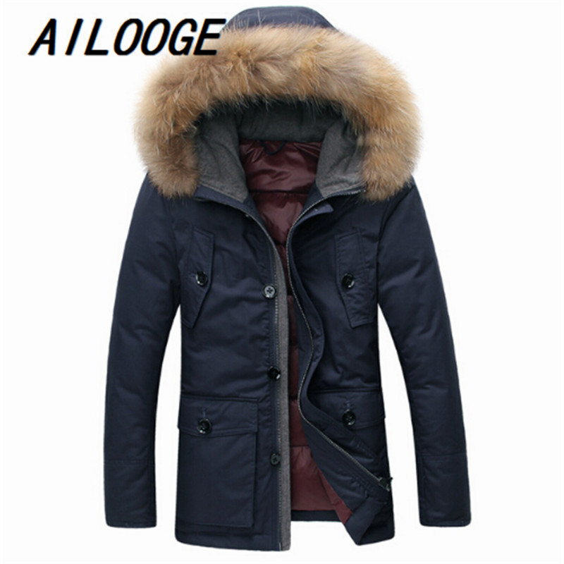 Winter mens down jacket 90% white duck down jacket warm men Fashion in the long section of self-cultivation coat Mens clothing