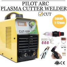 TOSENSE CUT50P Plasma Cutter Non-Touch Pilot Arc Dual Voltage 110/220V 50AMP 1/2'' Clean Cut Compact Metal Cutter Screen Display