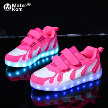 Size25 38 usb子供グローイングスニーカー点灯靴キャンバスシューズ発光スニーカー少年少女のためのバックライトでkrasovki