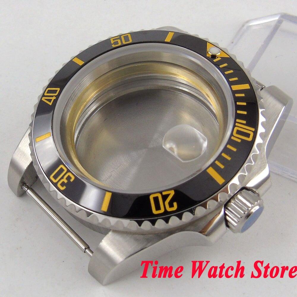 40mm 316L Cassa Dell'orologio in acciaio vetro Zaffiro lunetta in ceramica nera fit Miyota 8215 ETA 2836 movimento SUB uomini della vigilanza C100