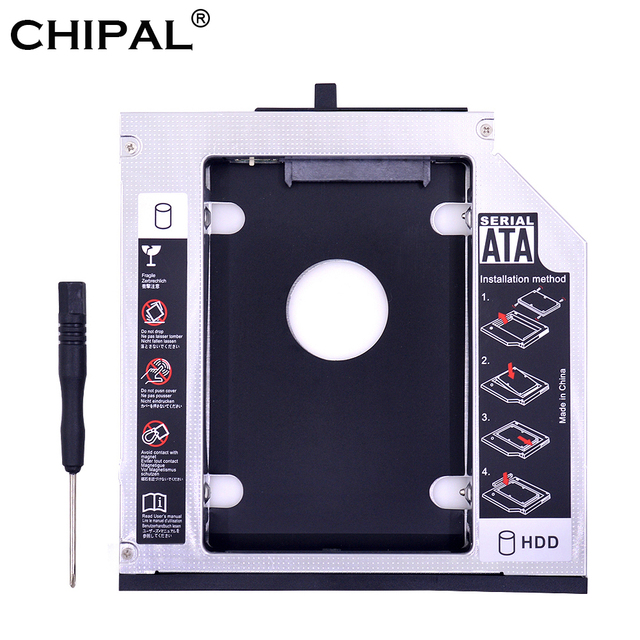 "CHIPAL de aluminio SATA 3,0 2nd HDD Caddy 12,7mm para 2,5 ""SSD caso HDD para Lenovo ThinkPad T420 t430 T510 T520 T530 extraño"