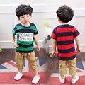 2017 Nuevo Verano Del Bebé Clothings Set Para Niños Ropa Niños Set Ropa de Los Niños Muchachos Del Niño Despojado camiseta trajes