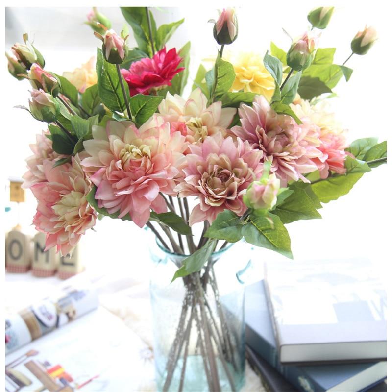 ᗖSilk Flower Wedding Bouquet Roses Dahlias Artificial Flowers Fall ...