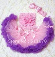 Светло розового и фиолетового цветов Детская юбка-американка, Розовый пион розовый вязаный Топ, розовым бантом повязка 3 шт. комплект mact133