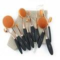 Pinceles de Maquillaje profesional 10 unids Oval Extremadamente Suave Maquillaje Cepillo Conjunto Kit con Bolsa de Polvo de la Fundación Brush