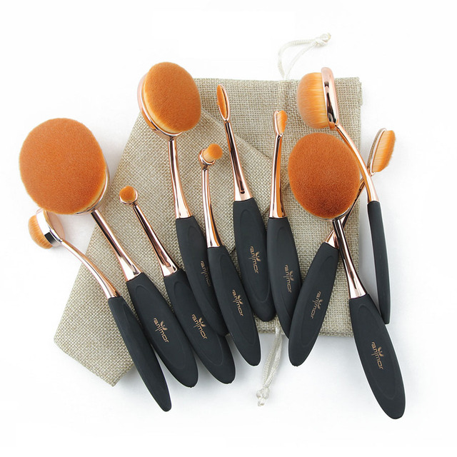 10 pcs of Professional Rose Gold Oval Makeup Brush Kit with Bag