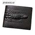 JINBAOLAI Vintage alligator top cow genuine leather wallets for men 2016 two style Crocodile pattern high quality free shipping