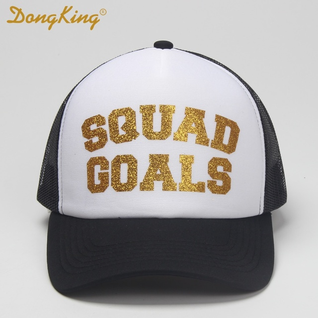 1d2e212d021 DongKing Trucker Cap SQUAD GOALS Gold Glitter Print Top Quality Mesh Hat  Holiday Caps Snapback Women Gift Funny Hats By Hand
