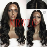 MRWIG Black/Brown/Blonde Synthetic Lace Front Wig Long Wavy Wigs for Black Women Heat Resistant Fiber Middle Part