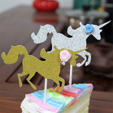 5Pcs Glitter Paper Unicorn Happy Birthday Carving Cake Flag Baking Decorative Insert Party Supplies Baby Shower Deco