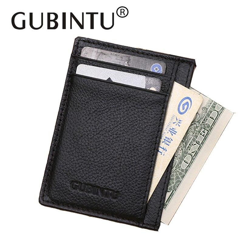 все цены на GUBINTU Men's Slim Credit Card Holder Leather Card Holder for Male Black Brown Thin Card Case for Man