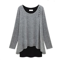 2017 New Autumn Fashion Women Full Sleeve O Neck Pullover Sweater Fake Two Clothes Slim Top