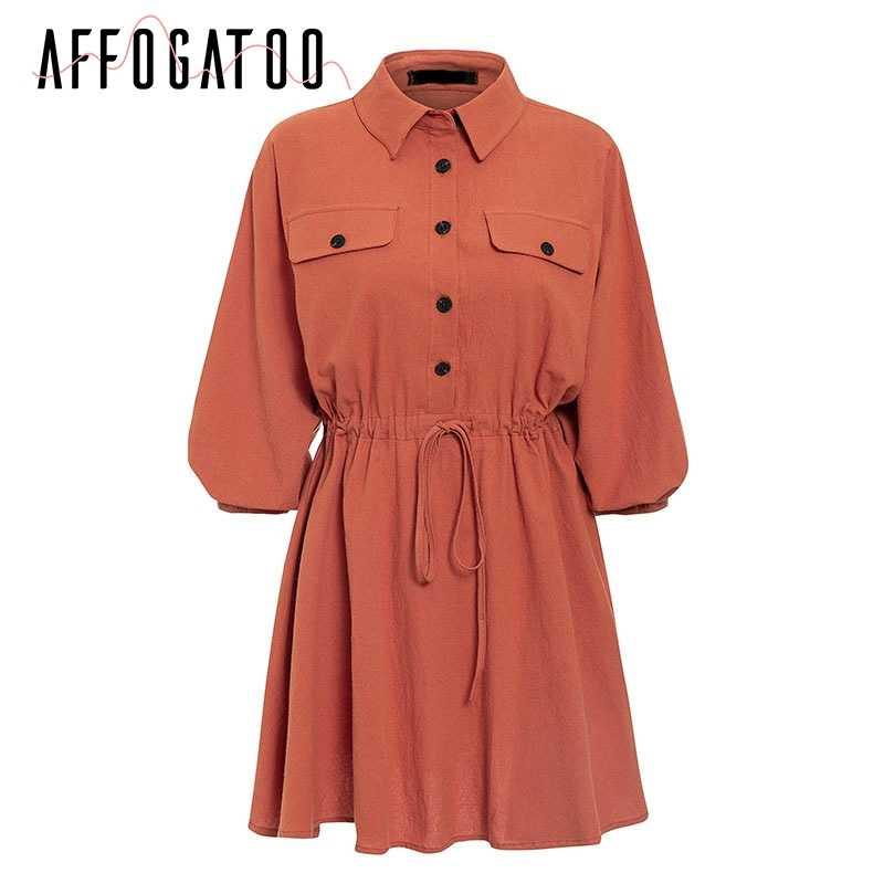 Afogaoo винтажное элегантное женское мини-платье-рубашка, повседневное короткое платье с рукавами-фонариками, отложной воротник, на шнуровке, льняные женские платья
