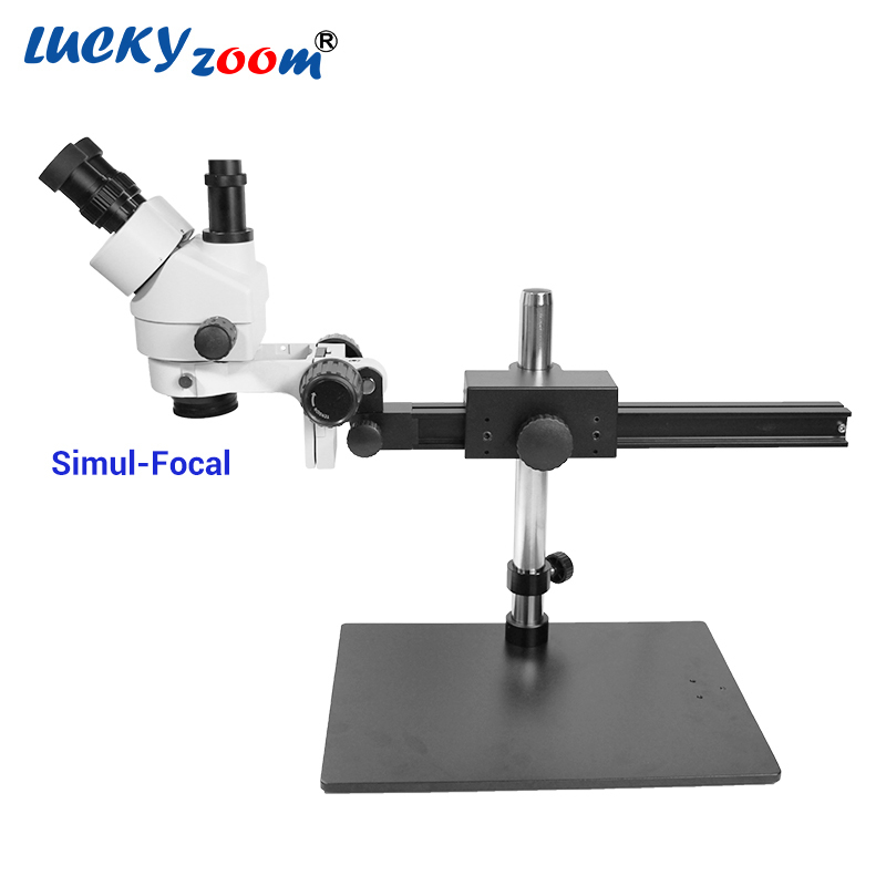 Luckyzoom 7X 45X Simul Focal Trinocular Stereo Zoom Microscope Flexible Tripod Stand PCB Inspection Soldering Phone