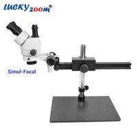 Luckyzoom 7X-45X Simul-Brenn Trinocular Stereo Zoom Mikroskop Flexible Stativ PCB Inspektion Löten Telefon Microscopio