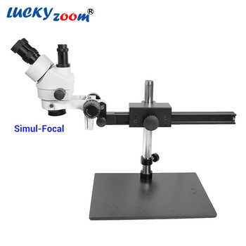 Luckyzoom 7X-45X Simul-Focal Trinocular Stereo Zoom Microscope Flexible Tripod Stand PCB Inspection Soldering Phone Microscopio - DISCOUNT ITEM  33% OFF All Category