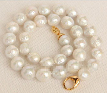 "17"" 14mm Baroque white Reborn keshi pearls necklace e2486^^^@^Noble style Natural Fine jewe FREE SHIPPING"