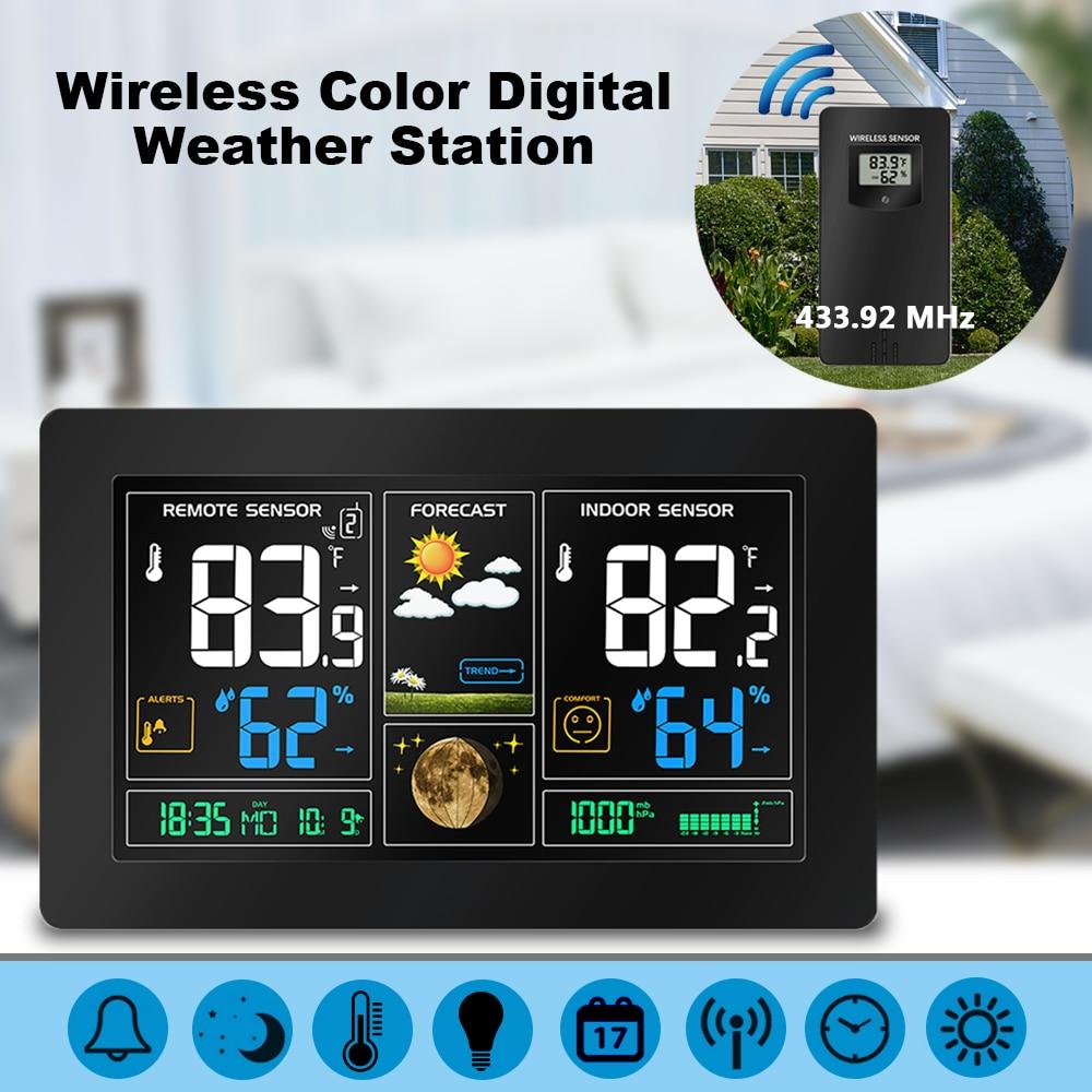 Беспроводной Цвет цифровой ЖК дисплей USB открытый атмосферное давление метеостанции гигрометр термометр часы сенсор Instrumen