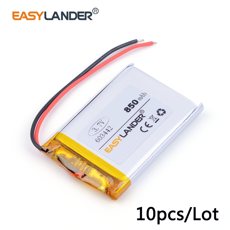 10pcs /Lot 603442 850mAh 3.7v lithium Li ion polymer rechargeable battery Watch PDA toys battery pack medical device mp3 mp4 mp5