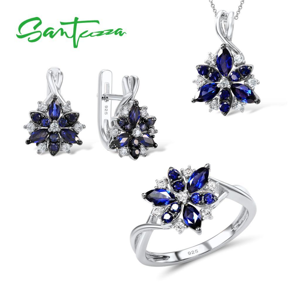 SANTUZZA Silver Flower Jewelry Set Blue Nano Cubic Zirconia Ring Earrings Pendant Set 925 Sterling Silver
