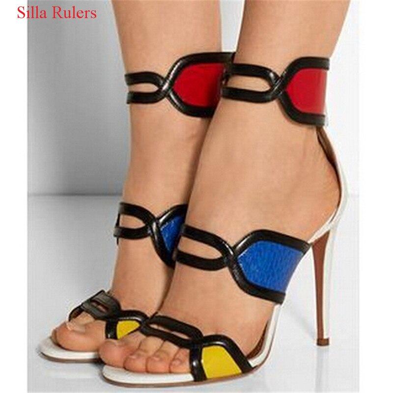 Rouge bleu jaune Patchwork talons hauts femmes sandales couleur mixte découpé gladiateur sandales femmes bottes chaussures femme Sandalias Mujer