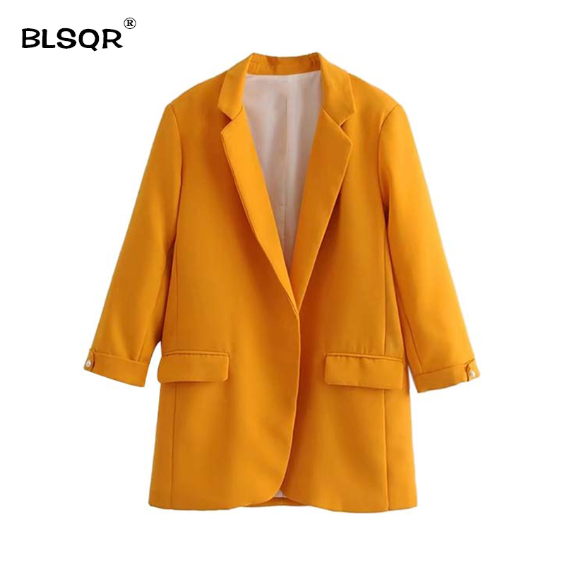 BLSQR Fashion Women Notched Collar Solid Blazer Beading Pearl Pockets Candy Colors Female Retro Casual Outwear Chic Tops 6 color