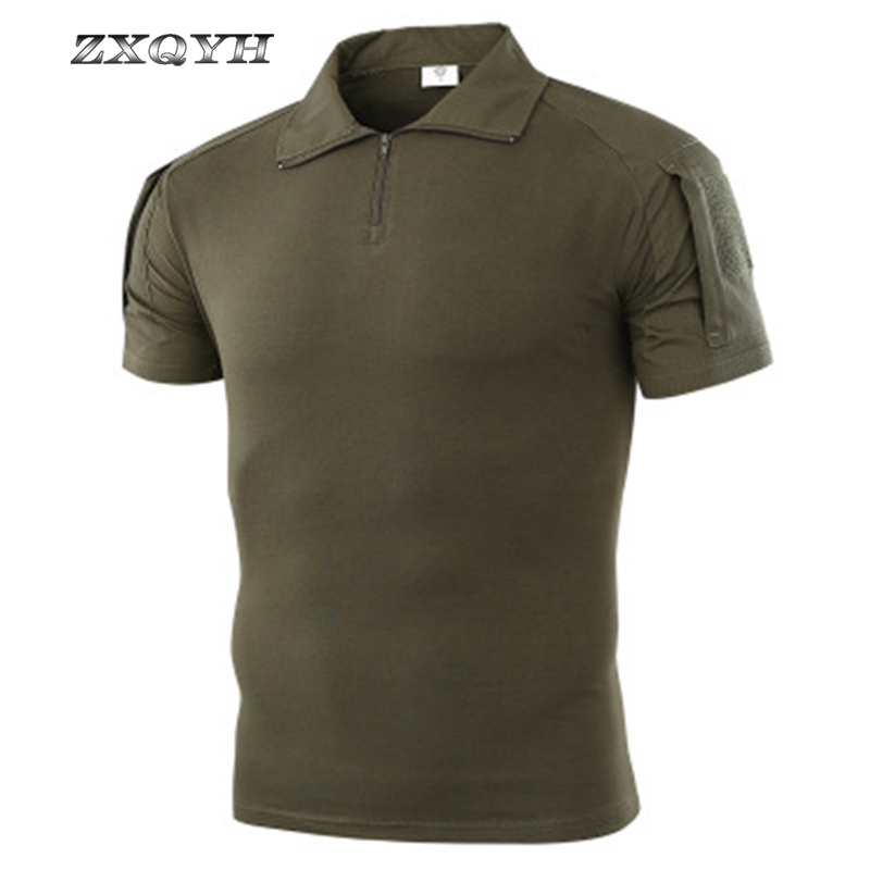 ZXQYH Summer Men T-shirt Short Sleeve Anti-Sweat Shirt Army Combat Tactical T Shirt Military Camouflage Outdoor Trekking Shirt