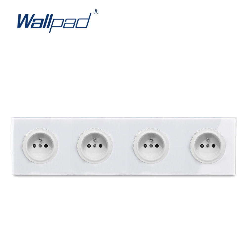 4 EU French Socket Wallpad Luxury Tempered Crystal Glass Panel Electric Wall Power Socket Electrical Outlets For Home