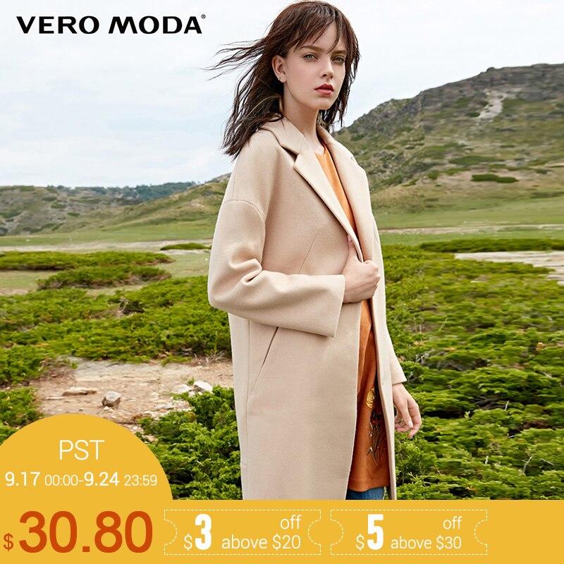 Vero Moda Бренд 2018 Новинка женская шерстяная куртка 52% шерсти свободный фасон толстая ветровка шерстяное пальто женское бизнесный стиль 317327525