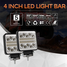 Car LED Work Light Strobe 4 Inch 102W LED Work Light Square Spot Beam Offroad Driving Light Bar  Auto Accessorie