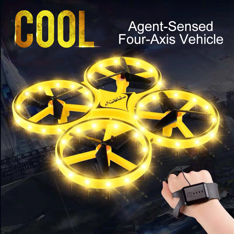 Mini Drone de inducción de cuatro ejes, reloj inteligente, gesto de detección remota, Avión RC, OVNI, interacción noctilucente somatosensorial, juguetes RC KY606D drone 4 k HD fotografía aérea 1080 p Avión de cuatro ejes 20 minutos de vuelo presión de aire helicóptero de control remoto