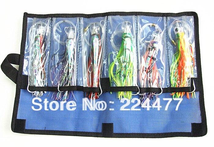 Livraison gratuite-5.5 pouce pieuvre leurre Double pieuvre jupe tête en résine avec crochet ligne pêche attirail costume pas cher paquet de pêche