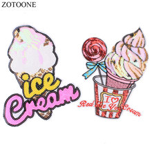 ZOTOONE Lovely Sequin Patch for Clothes Motif Applique Shining Ice Cream Iron on Clothing Custom Stickers