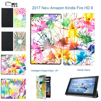 MTT For Amazon Kindle Fire HD 8 2017 Version Aquarelle Case Magnetic PU Leather Tablet Funda