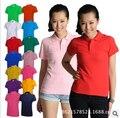 Женская майка 2015 лета новый короткими рукавами футболки женская мода Корейский Тонкий лацкане хлопок женщины футболку бесплатная доставка