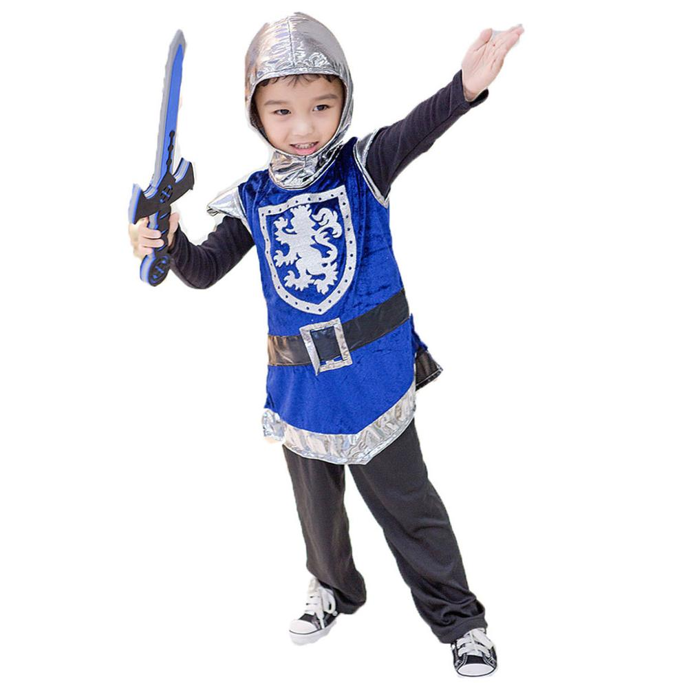 Kid Boys Medieval Knight Warrior Costumes Funny Flighter Cavalier Hero Blue Hooded Outfit Cool Armor Coat Fancy Gift For Child