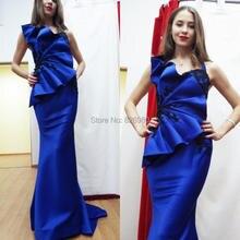 Royal Blue Abendkleider 2015 Sexy Meerjungfrau Spitze Appliqued Abendkleider Halfter Sleeveless Lange Formale Partykleider Sweep Zug