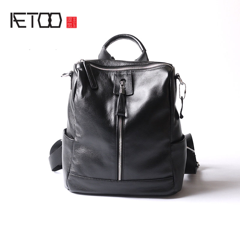 AETOO Women New fashion bag of the wave of leather bags casual wild backpack the wave